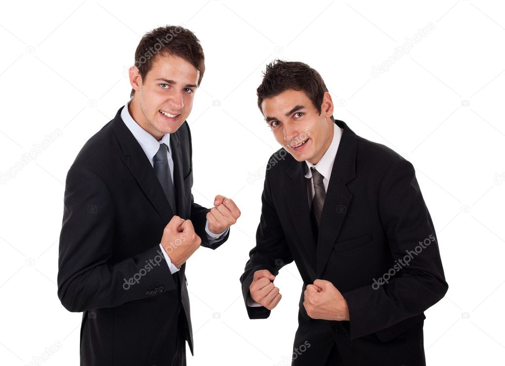 Two businessman enjoying succes, isolated on white — Stock Photo #5446000
