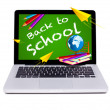 Stock Photo: Modern laptop back to school chalkboard