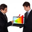 Business man show on laptop with chart 2 — Stock Photo