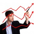 Businessman drawing chart in whiteboard — Stock Photo