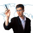 Businessman drawing the world map in a whiteboard — Stock Photo