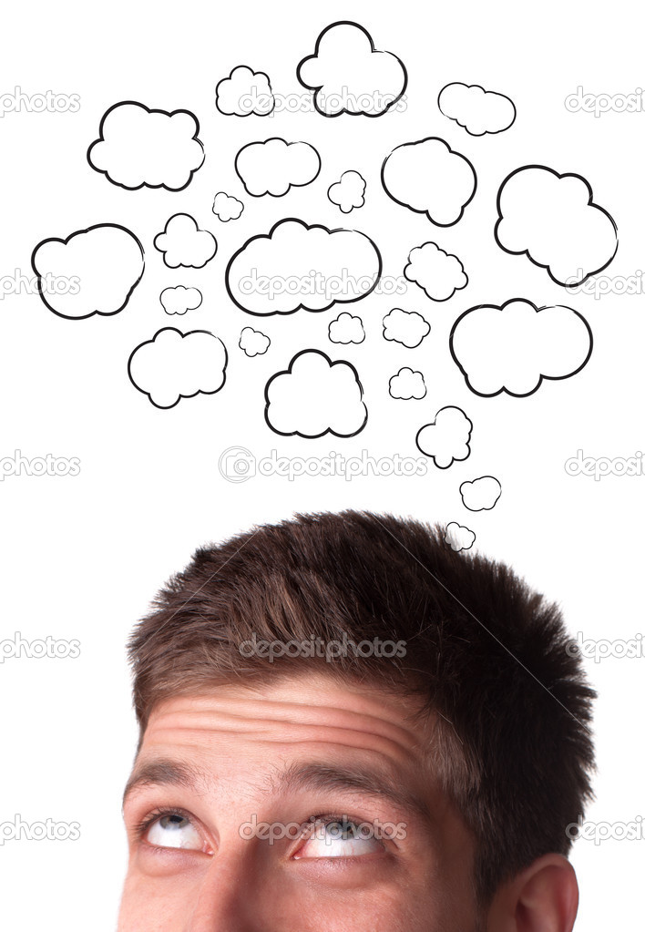 Young man with Speech Bubbles over his head, isolated on white background — Stock Photo #5574678