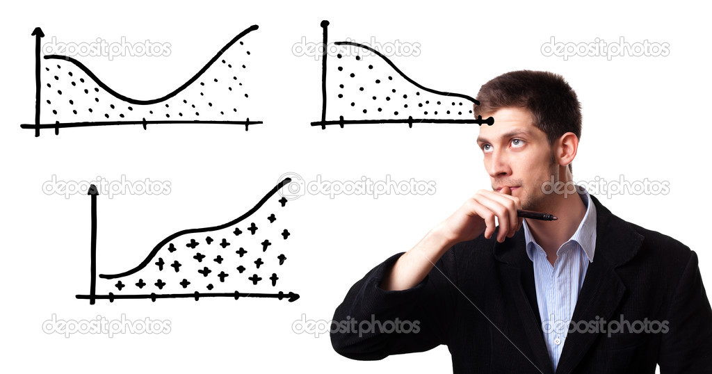Successful businessman showing growth of profit on sales on a whiteboard  — Stock Photo #5574689