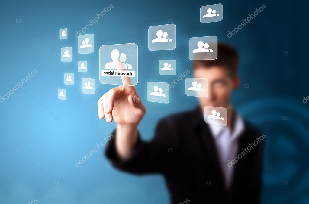 A businessman working on modern technology, selective focus  Stock Photo #5574734