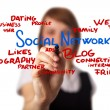 Businesswoman drawing social networking schema in a whiteboard — Stock Photo