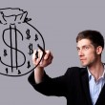 obchodník pro ruční kreslení a nápad pro vydělávání peněz — Stock fotografie