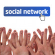 Happy finger faces as social network — Stock Photo