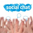 happy group of finger smileys with social chat sign — Stock Photo #5837131