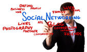 Man drawing Social Networking schema on the whiteboard (selectiv — Foto Stock