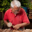 Woodcarver working with mallet and chisel 10 - Stock Photo