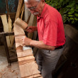 Woodcarver working with mallet and chisel 4 — Stock Photo #6115650