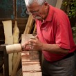 Woodcarver working with mallet and chisel 3 — Stock Photo #6115652
