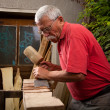 Stock Photo: Woodcarver working with mallet and chisel