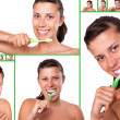 Sequences of girl brushing her teeth — Foto Stock