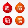 Colorful free trial badges and stickers - Vettoriali Stock 
