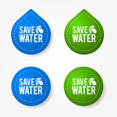 Colorful save water badges and stickers — Stock Vector