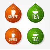 Colorful coffee and tea badges and stickers — Vector de stock
