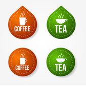 Adesivi e colorati distintivi di caffè e tè — Vettoriale Stock
