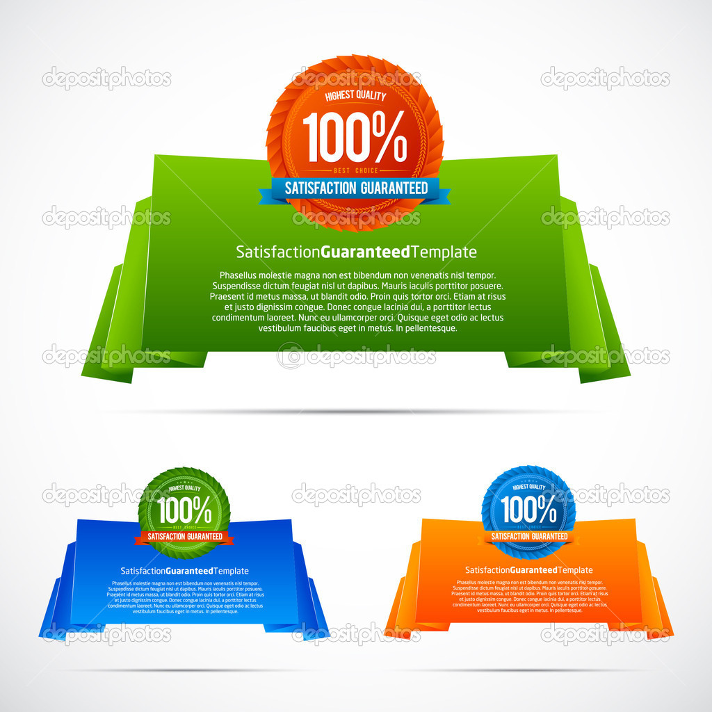 Colorful origami satisfaction guaranteed template, illustration  Stock Vector #6347252