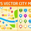 Gps city map with navigation icons - Stock Vector