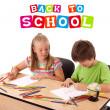Kids with back to school theme isolated on white — Stock Photo #6407329
