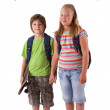Kids with back to school theme isolated on white — Stock Photo #6407344
