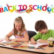 Kids with back to school theme isolated on white — Stock Photo #6407368
