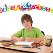 Kid with back to school theme isolated on white — Stock Photo