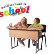 Kids with back to school theme isolated on white — Stock Photo #6407386