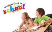 Děti se zpět do školy téma izolované na bílém — Stock fotografie