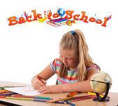 Geri okul tema üzerinde beyaz izole için çocuk — Stok fotoğraf