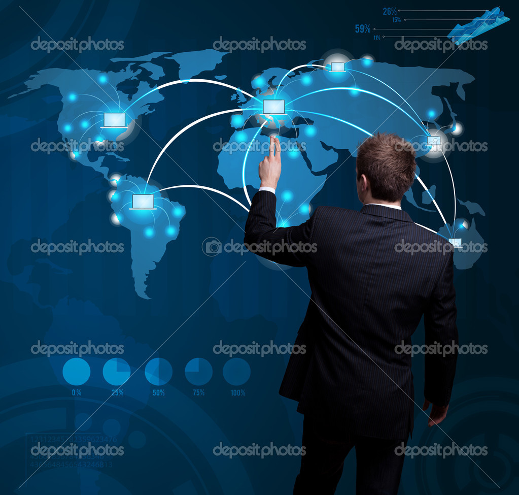 Businessman hand pressing digital button on futuristic map  Stock Photo #6407408