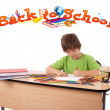 Child drawing with back to school theme isolated on white — Stock Photo