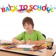 Kid with back to school theme isolated on white — Stock Photo #6422213