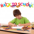Kid with back to school theme isolated on white — Stock Photo #6422218