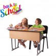 Kids with back to school theme isolated on white — Stock Photo #6422224