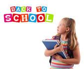 孩子背对学校主题上白色隔离 — 图库照片