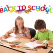 Kids with back to school theme isolated on white - Foto de Stock