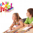 Kids looking with back to school theme isolated on white — Stock Photo