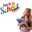 Stock Photo: Kid with back to school theme isolated on white