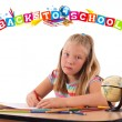 Stock Photo: Girl with back to school theme isolated on white