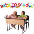 Kids with back to school theme isolated on white — Stock Photo #6448694