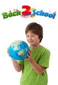 Jongen op zoek met terug naar school thema geïsoleerd op wit — Stockfoto