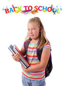 Girl with back to school theme isolated on white — Stock Photo