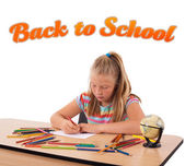 Young girl drawing with back to school theme isolated on white — Stock Photo