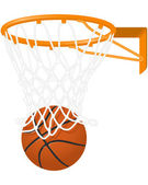 Basketball hoop and ball — Stock Vector