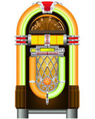 Jukebox - automated retro music-playing device — Stock Vector