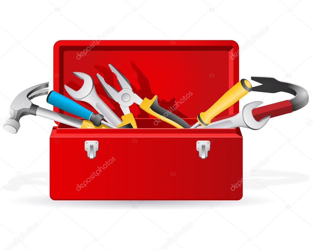 Opened red toolbox with set of different tools  — Grafika wektorowa #5694579