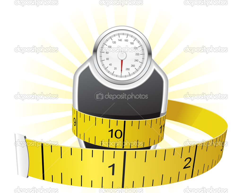 Dieting concept - weights wrapped with tape measure  — Stock Vector #6534262