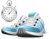 Running Shoes and stopwatch — Stock vektor